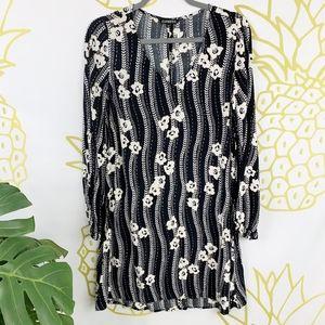 Express | Floral Long Sleeve V-Neck Dress!